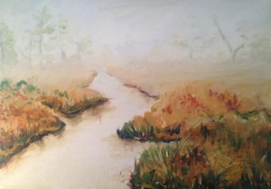 Oil Painting of Creek in Maine