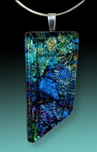 blue and green dichroic glass pendent
