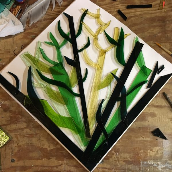 sea garden fused glass art