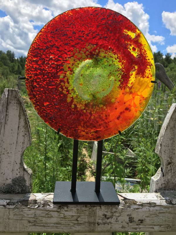Summer Solstice Glass Art, fiery red