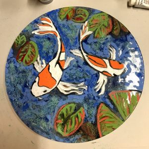 round koi pond glass paintng