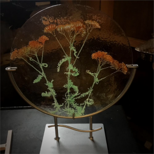 Glass art with yarrow